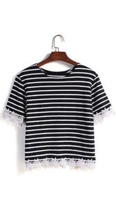 Striped Lace Embellished Summer Crop T shirt .★★Striped shirt women ,short sleeve ,round neck ,★★lace girls tee summer .Cute & street wear t-shirt cheap online .★★Buy T at  ROMWE.