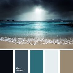 In Color Balance the color palette no. 1645 combination of colors of the sea, theluminous color of sea foam, cool shades of brown sand. Paint Schemes, Colour Schemes, Color Combos, Beach Color Schemes, Colour Pallette, Color Palate, Ocean Color Palette, Blue Palette, Turquoise Color Palettes