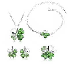Charmmaster Jewelry Set Lucky Four Leaf Clover Green Pendant Necklace Chain Bracelet Pendant and Earrings. Imported, beautiful and elegant design, the four leaf clover represent the love, health and riches. This fashion jewelry is perfect for daily wear, also an ideal gift for your lover, girlfriend, fiancee, wife, mother, valentine or just a friend etc. This exquisite women jewelry gives you a totally fresh impression. Four leaf clover shaped crystals and 23 gradual color Czech rhinestones…