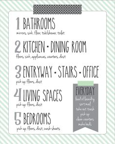 Cleaning Schedule - I love how she breaks the house into zones.  Clean a little bit everyday, and keeping a clean house is less overwhelming!
