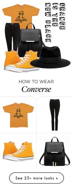 """orange is the new black"" by lilly-sophie16 on Polyvore featuring AGOLDE, Converse, Maison Michel, orangeoutfit and popsoforange Fashion Check, Fashion 2018, Cool Outfits, Casual Outfits, Summer Outfits, Orange Converse, Denim Fashion, Fashion Outfits, Outfits With Converse"