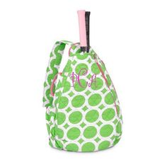 Monogrammed Quilted Tennis Backpack- Green Lots o Dots ($36.95)