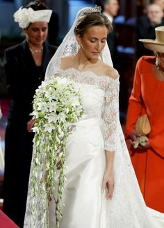 Princess Claire of Belgium in her wedding gown. Such elegance.
