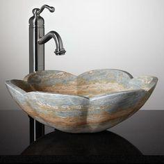 Fontus Flower-Shape Vessel Sink - Blue Onyx
