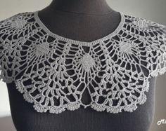 Handmade Crochet Collar Neck Accessory 5 Shades of Grey Crochet Collar Pattern, Col Crochet, Crochet Lace Edging, Crochet Woman, Crochet Shawl, Crochet Patterns, Neck Accessories, Crochet Accessories, Dress Neck Designs