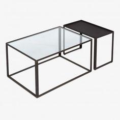 Mason Two Piece Iron & Glass Coffee Table Set