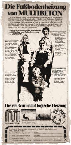 Aus dem MULTIBETON-Archiv: eine Anzeige aus dem Spiegel Nr. 28/1976. Vor 40 Jahren waren bereits 4 Millionen m² Heizfläche in über 40.000 Wohneinheiten verlegt!