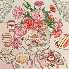 Tea time - colored by Cheryl Krumm