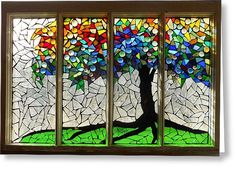 Mosaic Stained Glass - Roots Greeting Card by Catherine Van Der Woerd