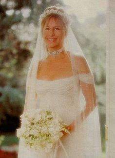 July 1998 - Barbra Streisand's Wedding Day, she married actor James Brolin Celebrity Wedding Photos, Celebrity Wedding Dresses, Celebrity Couples, Celebrity Weddings, Divas, Wedding Bells, Wedding Day, Hollywood Wedding, Famous Couples