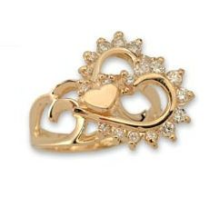 One heart of diamonds Motion Spinning Ring