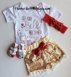 """Infant Girl Nordic Sets """" Move Over Belle There's a New Princess in Town """" Gold Sequin Pom Pom Shorts Onesie Top Red Glitter Hairband Baby Shower Gift Ideas Clothes Clothing Set Infant 0/6 mo"""