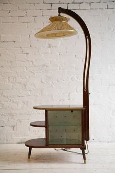 Vintage 1950s Walnut Display Cabinet and Lamp1