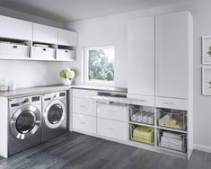 White cabinets modern laundry room remodel ideas