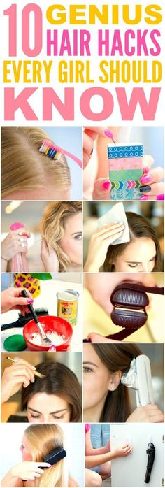 These 10 genius hair hacks every girl should know are THE BEST! I'm so glad I found these AMAZING tips! Now I have some awesome ways to save time and get cute hair! Definitely pinning! #BeautyHacksMakeup
