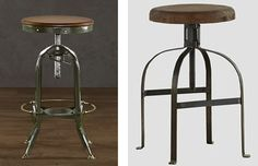 An alternative to a chair is this Restoration Hardware Vintage Toledo Barstool for $315. Once again, Cost Plus World Market has a less expensive alternative with the Twist Swivel Stool for only $109.99.