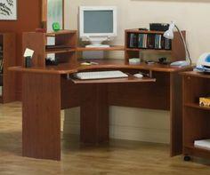 Amazon.com: Cherry Finish Corner Computer Desk Office Table Work Station: Home & Kitchen