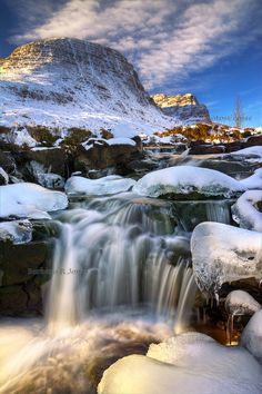 Russell Burn in Winter. North West Highlands of Scotland.