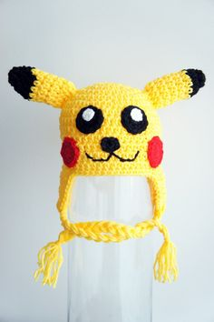 This ad is for ONE yellow hat inspired from Pikachu from Pokemon.  This hat would make an awesome baby shower gift, or would make a great addition to your professional photography studio. Its an ideal hat for those precious newborn photos, or for everyday use during those first few weeks of life.  SIZE: This hat is available in any size from Newborn to Child age 10. Please measure the recipients head for best fit. The following sizes are in head circumference. The hats can generally stretch…