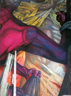 "Detalle del mural ""Liberación"" de Jorge González Camarena, realizado en 1963."