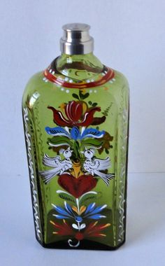 Hand Painted  Flowers and Birds Glass Bottle Made in by Cosasraras