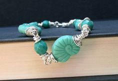 Nautilus Shell Bracelet  Seafoam Mint Green by SherryKayDesigns