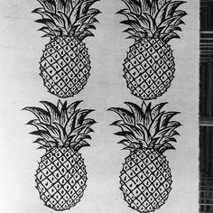 Pineapples. Print. Wood block. Printmaking.
