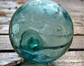 Fishing Float Glass Vintage Japanese - Comet Tail -  Home Decor, Glass, Ocean, Beach, Nautical, Sea, Cottage, Recycled Glass, Garden Decor