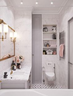 White marble bathroom, grey cabinets, open shelving, black and white painted tile, gold mirror. Home design decor inspiration ideas. White Marble Bathrooms, Grey Bathrooms, Small Bathroom, Bathroom Black, Modern Bathroom, White Tiles, Master Bathroom, Blush Bathroom, Glamorous Bathroom