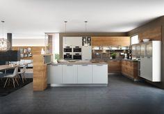 FM Küche Hammerleiten in honigeiche House Color Schemes, House Colors, German Kitchen, Grey Backsplash, Kitchen Paint Colors, Kitchen Models, Yellow Walls, Sweet Home, Kitchen Cabinets