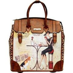Women's Nicole Lee Fiona Rolling Business Tote Special Print Edition - Coffee Business