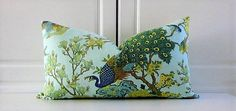 Greef+Decorative+Pillow+Cover-Teal+Blue+Peacock-Linen-13x23