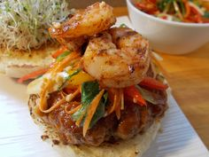Pad Thai Burger Recipe. Combines the great flavors of Pad Thai with a hamburger #asian #cooking #recipe #food #yum