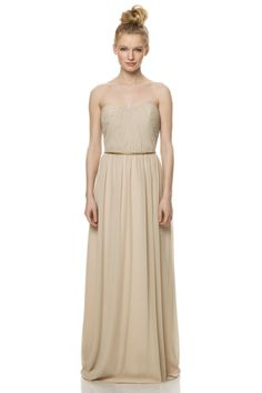 Vintage chiffon bridesmaid dress in a beige by Bari Jay style 1464. Find this dress at The Bridal Suite 850-494-9989.