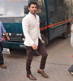 That Fawad Khan can pretty much pull off anything has been well-established. But there's much to learn from men whose sartorial prowess far exceeds your own. Groom Wedding Dress, Wedding Men, Wedding Suits, Indian Men Fashion, Mens Fashion Suits, Latest Wedding Dresses Indian, Indian Groom Wear, Wedding Sherwani, Groom Outfit
