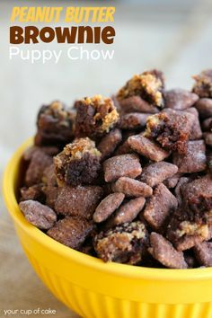 One of my favorite guilty pleasure snacks, Puppy Chow! Peanut Butter Brownie Puppy Chow