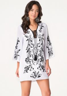 Embroidered Lace Up Dress from bebe on Catalog Spree