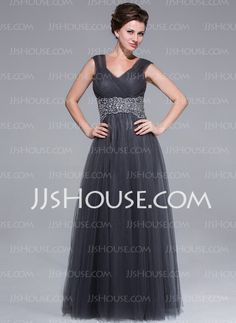 A-Line/Princess Sweetheart Floor-Length Tulle Mother of the Bride Dress With Ruffle Beading (008025712) - JJsHouse
