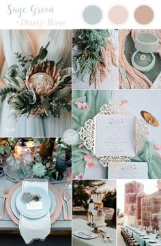 spring + summer sage green + dusty pink wedding colors wedding palette 7 Amazing Summer Wedding Color Combos for a Memorable Big Day Vintage Wedding Colors, Beach Wedding Colors, Wedding Flowers, Wedding Bouquets, Vintage Weddings, Romantic Weddings, Colors For Weddings, Blue Wedding Colors, January Wedding Colors
