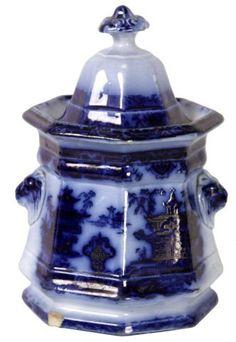 "*FLOW BLUE STAFFORSHIRE SUGAR BOWL ~ octagon form with figural lion's head handles, oriental scene, 8"" high."