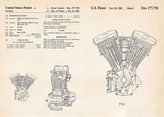 #Harley Davidson Gifts Motorcycle Evolution Engine Patent Art Drawings Hd Evo #PatentArtPrints