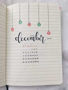 december bullet journal cover page ✨