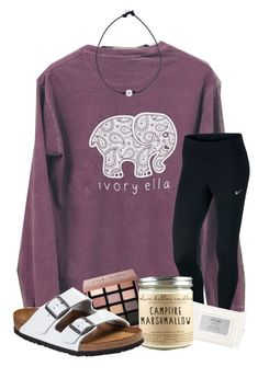 """am i the only person addicted to fortnite? "" by samanthars ❤ liked on Polyvore featuring NIKE, Bobbi Brown Cosmetics, Stila and Birkenstock"