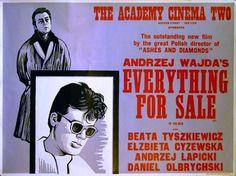 Woodcut by Peter Strausfeld for Academy Cinema London. Film Poster 1968 Andrzej Wajda Polish Drama starring Beata Tyszkiewicz, Elzbieta Czyzewska and Daniel Olbrychski.
