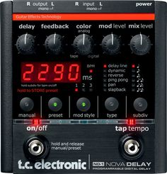 TC Nova Delay: The secret to my rhythmic delay sound... two of these run in series. First one running a clean dotted quarter delay. The second running a quarter note delay set on tape with only one or two repeats. More organic & natural than multitap.