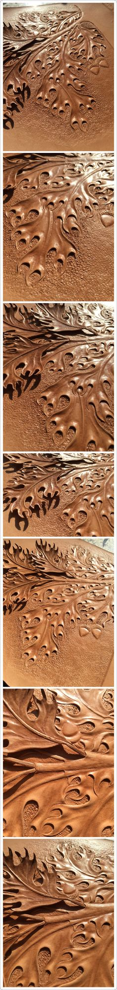 Tooling oak leaves#leather carving