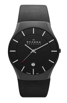 Skagen Slim Round Leather Strap Watch, 39mm available at #Nordstrom