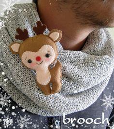 Felt Christmas ornament felt deer Reindeer Rudolph by MyMagicFelt Felt Christmas Decorations, Christmas Ornaments To Make, Christmas Sewing, Noel Christmas, Felt Crafts, Handmade Christmas, Holiday Crafts, Reindeer Christmas, Christmas Patterns