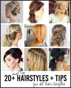 Over 20 Must Try Hairstyles for All Lengths of Hair - tips, tricks and easy ways to style your hair! www.thirtyhandmadedays.com