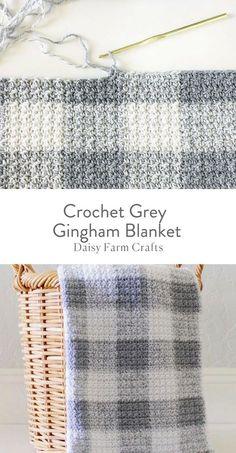 Free Pattern - Crochet Grey Gingham Blanket